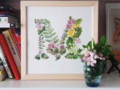 watercolor floral letter m / lettering / typography