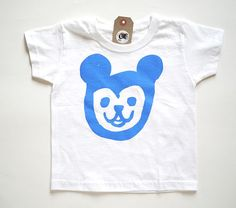 Hand printed Blue Bear face  Kid's Tee by BelsArt on Etsy, $18.00