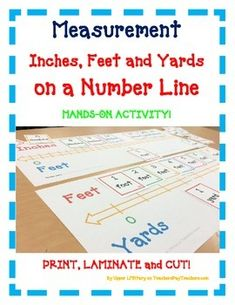 Measurement Inches Feet Yards Number LineTeaching ToolHANDS-ON ACTIVITY!Use this FUN activity to teach, review, and assess your students!Great for whole class activity with partners and in small group instruction.Just Print, Laminate, and Cut!Included:-Easy Assembly Directions-Teacher Instructions for Lesson-Tons of PHOTOS-5 Number Lines -More than 50 Cards to place on the Number LineYour students will enjoy this activity!