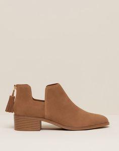 Pull&Bear - zapatos - botas y botines - botín calado - cuero - 15140011-I2015