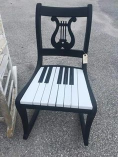 . Music Furniture, Painting Old Furniture, Funky Furniture, Repurposed Furniture, Unique Furniture, Furniture Projects, Hand Painted Chairs, Whimsical Painted Furniture, Hand Painted Furniture