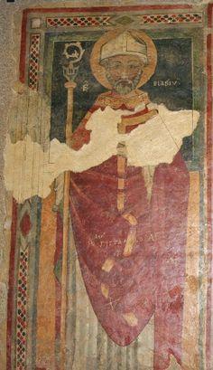Venosa: abbazia SS. Trinità, affresco di S. Biagio (sec. XV). Basilicata   #TuscanyAgriturismoGiratola