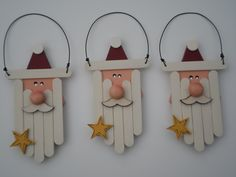 Love these wood triangle Santas with mini-popsicle stick beards. More