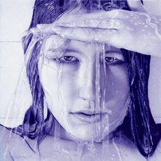 through the veil   ballpoint pen artwork by lopezlorenzana - Photorealistic Portrait Drawings by Nathan Lorenzana  <3 <3