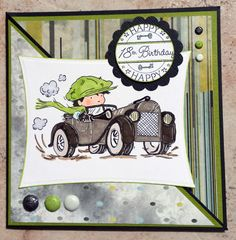 """2014 Challenge 8 - """"Mechanic Ted"""" layout - Lili of the Valley stamp, car, birthday boy card 18th Birthday Cards, Birthday Cards For Boys, Boy Birthday, Boy Cards, Kids Cards, Cute Cards, Mo Manning, Hobby House, Crafts For Boys"""