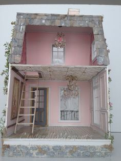 Here is my first dollhouse of I call it La Vie En Rose custom dollhouse. It's a peachy pink color. It's not showing up very well in mo. Victorian Dollhouse, Modern Dollhouse, Diy Dollhouse, Dollhouse Design, Miniature Houses, Miniature Dolls, Fairy Houses, Doll Houses, Diy Doll Miniatures