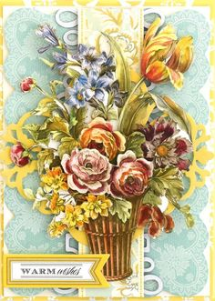 How to: Floral Decoupage Layered Card | Anna's Blog Finished Size: 5×7 card One of our favorite die cuts in the set is this gorgeous, build-able vase full of flowers!