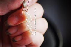 NEW  Lightning Bolt Earrings  Gold Filled Flat by blackpersimmons