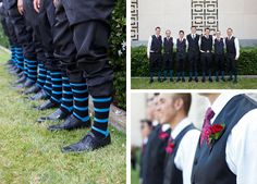 groomsmen and their matching blue striped socks and pinky boutonnieres.