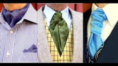 The BEST, clearest, step-by-step way to tie and wear: the Cravat, the Ascot and the Ruche Tie. KNOW THE DIFFERENCE, with this explanation of their background. Cravat Tie, How To Tie A Cravat, Ascot Ties, Tie And Pocket Square, Pocket Squares, Dress Codes, Scarf Styles, Day Dresses, How To Wear