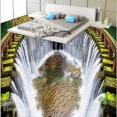 Fancy Modern Design Reservoir Waterfalls Pattern Decorative Waterproof Floor Murals o no.Blue Sky and White Cloud Pattern Nonslip and Waterproof Floor Murals