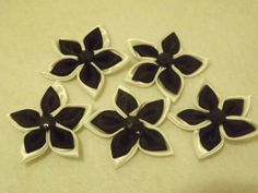 5 Black and White Satin Flowers with Rhinestone by sweetiefluhr, $1.99
