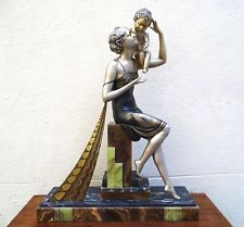 Amazing Art Deco  Woman And Child Statue Signed Ugo Cipriani Marble Base      $3,400.00