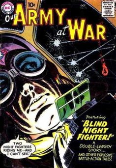 A cover gallery for the comic book Our Army at War War Comics, Comic Covers, Dc Universe, Comic Books Art, Wwii, Battle, Nostalgia, Army, Silver Age