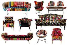 Funky chairs reupholstered with recycled material..Could be good for a kids room or outdoor lounge area..