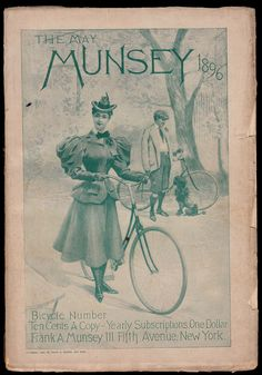 Gilded Age lady and gentleman with their bicycles, and poodle. c.1896 - The May  Munsey Magazine cover.  Frank A. Munsey Publisher - 111 Fifth Ave, NYC. ~ {cwl} ~ (Image: Online Bicycle Museum)