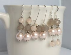 Set of 3 Bridesmaid Earrings  Light Blush Pink and Grey Gray Mix and Match Wedding Earrings Pearl and Crystal and by Sarahkayejewelry2, $30.00