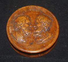 ANTIQUE CARVED BURLWOOD BURL WOOD NAPOLEONIC SNUFF BOX SOCRATES ARISTOTLE