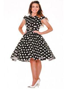 Women's Big Dot Long Dress - Black/White