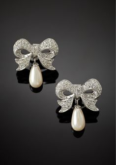 ERWIN PEARL Silver/White Pearl Drop Bow Earrings