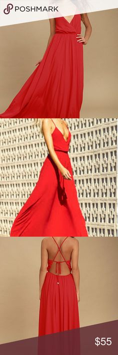 Everything's all bright red backless maxi dress The dress is a flowy maxi dress, backless from Lulus. It's brand new. Lulu's Dresses Maxi