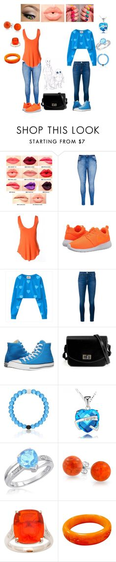 """Date with underswap sans and papyrus"" by cheergirl1798 ❤ liked on Polyvore featuring NYX, City Chic, NIKE, Frame Denim, Converse, Amanda Rose Collection and Bling Jewelry"