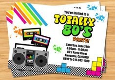 Boombox Neon Music Birthday Party Invitation 80s invite