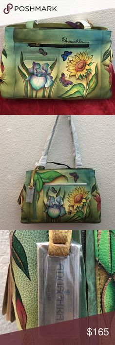 🎉NEW LISTING STUNNING ANUSCHKA LARGE TOTE 🎉NEW LISTING absolutely stunning and amazingly unique large tote by Anusckka.If you are acquainted with this line you are aware of its amazing quality and spectacular design. Each bag is made from premium leather and then is hand painted by one of two artist. They designed a line that intersects art with fashion and the result is stunning. The interior is so large plus you get 2 zip pouches and a key attachment. Unique beyond words. Questions…