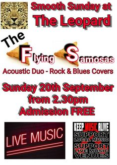 It's the third Sunday of the month - which means it's SMOOTH SUNDAY at The Leopard.  Admission is FREE so join us for a great afternoon of LIVE music with acoustic duo The Flying Samosas! #SmoothSundays #TheLeopard #Tutbury #livemusic #gigs #livegig #acoustic #music #TheLeopardTutbury #goodtimes #events #entertainment #localbands