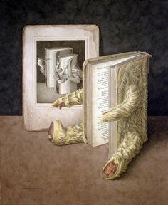 Jonathan Wolstenholme, 1950 ~ The Surreal books Sharjah, Living Under A Rock, Sculpture, Freelance Illustrator, Cute Illustration, Book Worms, Illustrators, Fantasy Art, Book Art