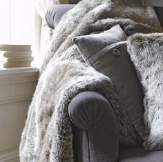 I like beige bed throws, throw pillows, cozy blankets, touch of gray, gray Grey Fur Throw, Faux Fur Throw, Cozy Bedroom, Modern Bedroom, Bed Throws, Throw Pillows, Touch Of Gray, Pillow Room, Winter House