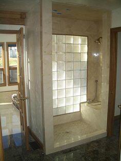 Glass blocks to let light into bathroom-do side of shower facing Windows Bathroom Windows In Shower, Brick Bathroom, Window In Shower, Glass Bathroom, Bathroom Renos, Laundry In Bathroom, Bathroom Renovations, Bathroom Interior, Small Bathroom