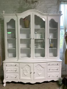 Painted Cottage Prairie Chic One of a Kind Vintage China Cabinet CC1103 Painted Cottage, Shabby Cottage, Vintage China Cabinets, Shabby Chic Shelves, Glass Knobs, Paris Apartments, Beautiful Wall, Wood Construction, Wood Shelves