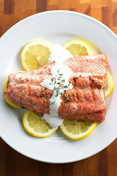 Quick and easy grilled salmon with simple thyme cream sauce. This is a fast and fresh dinner that's perfect for date night or an easy dinner for two during the week Grilling Recipes, Veggie Recipes, Seafood Recipes, Appetizer Recipes, Beef Recipes, Shellfish Recipes, Veggie Food, Healthy Recipes, Gourmet