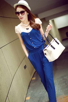 370ca2182a8b WOMEN S SOFT COMFORTABLE LONG PANT BLUE JUMPSUIT Unomatch is the world s  top brand. All the