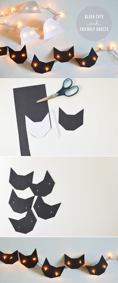 DIY: Black Cats Lights. Cut out black cat shapes to make these cute string lights. Cat's Pajamas Halloween Slumber Party Decorations & Ideas