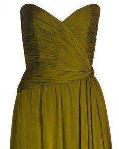 Oscar de la Renta 1970's olive green gown