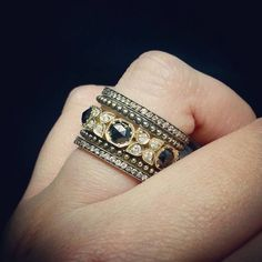 Our version of champagne & caviar...black, white brilliant, and champagne diamond stackers by Sylva & Cie