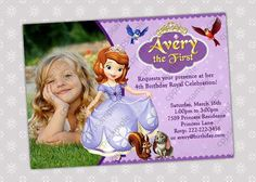 Sofia the First Birthday Party Invitation  by CreativePartyPixels