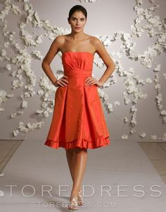 Attractive Beaded Flowers Sheath A-Line Knee-length Strapless Bridesmaid Dress