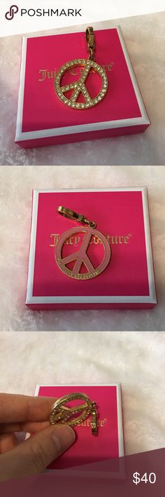 Juicy Couture- Peace Sign Charm Great condition. No missing stones. Price is definitely negotiable and I'm always open to all offers. Juicy Couture Jewelry