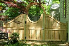 gates and fences designs photos | ... -Private Wood Fence with Square Lattice, Arbor & Gate by Elyria Fence
