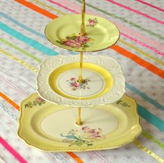 Alice Sleeps In, Pale Yellow Vintage China 3 Tier Tea Stand in Anthropologie Style for Wedding Cupcakes, Birthday Desserts or Shower Favors - that's beautiful Vintage Plates, Vintage Dishes, Vintage China, Vintage Teacups, Antique Dishes, Vintage Yellow, Vintage Kitchen, Vintage Items, Vintage Jewelry