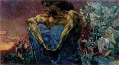 'Deamon Sentados', óleo sobre lienzo de Mikhail Vrubel (1856-1910, Russia)