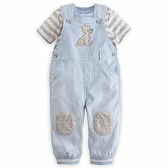 Disney Tramp Dungaree Set for Baby | Disney StoreTramp Dungaree Set for Baby - Your little pup will look cute on both sides of the tracks in this dungaree set. The corduroy dungarees feature the wily young Tramp with his soft furry coat, and are complemented by the striped bodysuit that will win every Lady's heart.