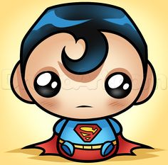 Drawing Superhero how to draw kawaii superman Bebe Superman, Chibi Superman, Chibi Marvel, Superman Mask, Kawaii Drawings, Disney Drawings, Cartoon Drawings, Realistic Drawings, Cute Drawings