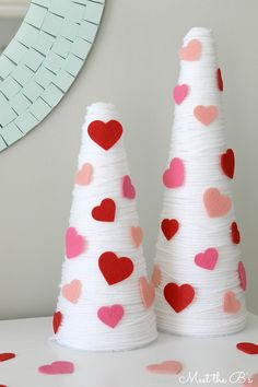 How to make easy DIY Valentine's Day decor made from yarn and styrofoam cones. How to make easy DIY Valentine's Day decor made from yarn and styrofoam cones. Valentine Tree, Valentine Crafts For Kids, Valentines Day Party, Love Valentines, Valentine Gifts, Valentine Ideas, Printable Valentine, Homemade Valentines, Diy Valentine's Day Decorations