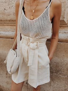 All White, Summer Outfits, Cream high waisted shorts with tie, cream knit tank with layered necklaces. All white summer outfit. Trendy Outfits, Fashion Outfits, Womens Fashion, Fashion Trends, Hipster Outfits, Fashion Ideas, Fashion 2020, Fashion Online, Men Hipster