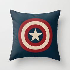 Captain America Logo Minimalist Art Print Marvel Comics Throw Pillow