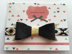 Black & Gold Felt Bow On Aztec Tie Dye Headband by MaddiandAddiBowtique on Etsy https://www.etsy.com/listing/227704133/black-gold-felt-bow-on-aztec-tie-dye